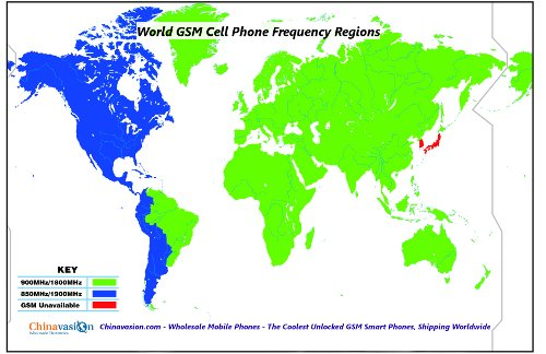 World Cell Phone GSM Frequencies Region Map